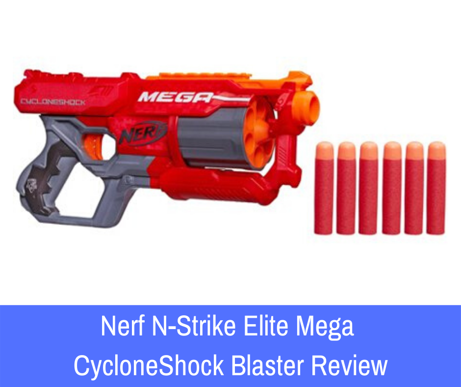 Review: The Nerf N-Strike Elite Mega CycloneShock blaster. To help you understand why this product is something that you need in your weapon stockpile, here is a closer look at the CycloneShock that you need to see if you want this powerful pistol on your side.