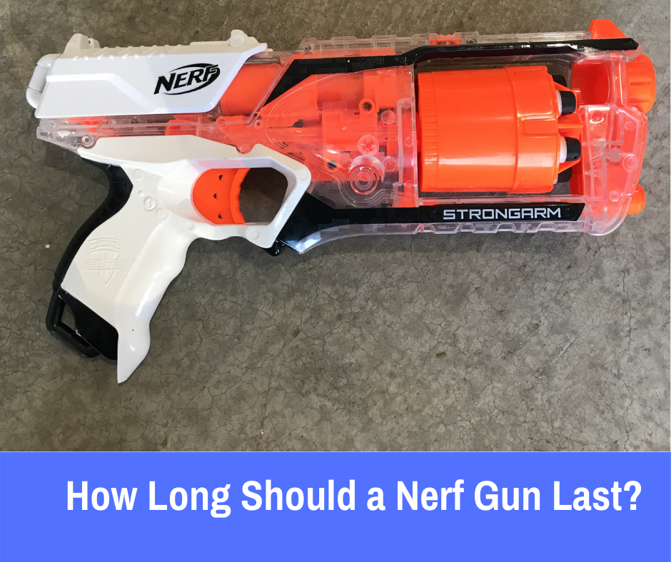 On average, a Nerf Gun should last over 10 years, well over 4000 shots. The lifespan of a Nerf gun depends on how it is stored, treated, and the condition of the darts that are loaded in it.