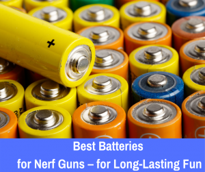 The best batteries for nerf guns is the set of 8 AAs, Cs or Ds that come with a long-lasting charge.